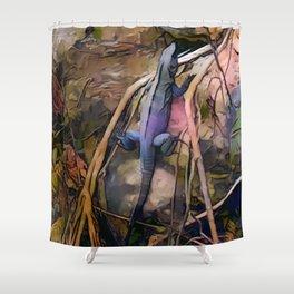 Tropical Iguana Shower Curtain