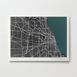 City of Chicago Map Metal Print