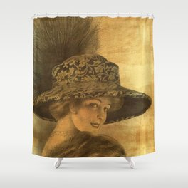 Golden victorian lady Shower Curtain