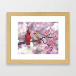 cardinals and crab apple blossoms Framed Art Print