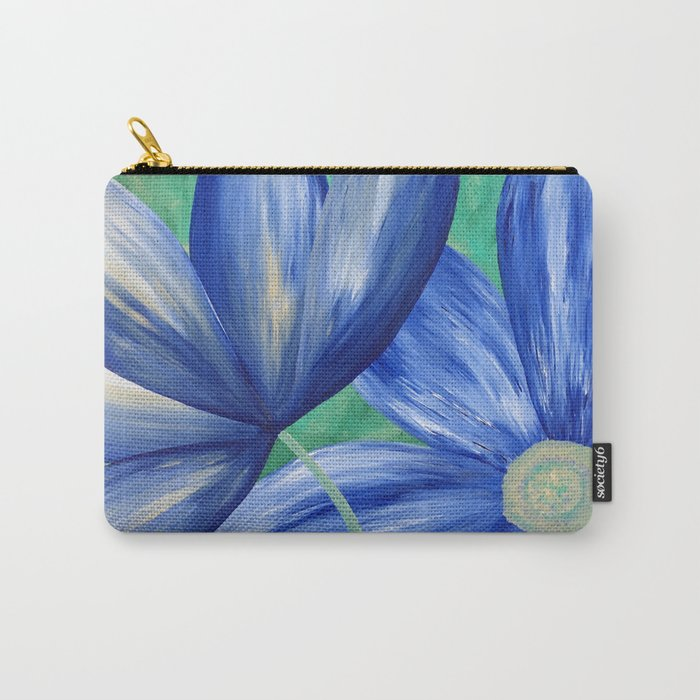 Large Blue Flowers Carry-All Pouch