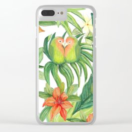 Jungle Tropical Watercolor Greenery Botanical Clear iPhone Case