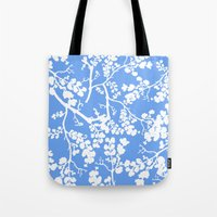 cherry blossom Tote Bags featuring Cherry Blossom by Elena O'Neill