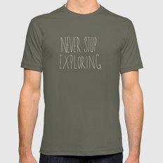 Never Stop Exploring: Mount Rainier LARGE Lieutenant Mens Fitted Tee