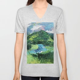 Gunnison: a vibrant acrylic mountain landscape in greens, blues, and a splash of pink Unisex V-Neck