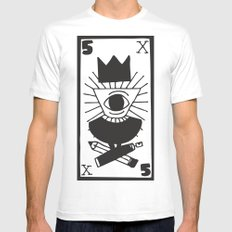 mighty eye card White MEDIUM Mens Fitted Tee