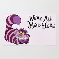 cheshire cat Area & Throw Rugs featuring Cheshire Cat by Elle Moz