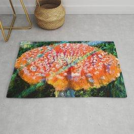 A big magic mushroom print natural abstract colourful Rug