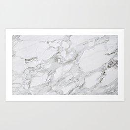 White & Grey Marble Art Print