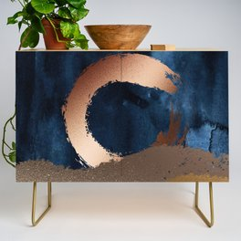 Navy Blue, Gold And Copper Abstract Art Credenza