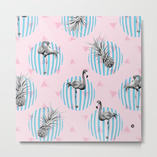 Flamingo pineapple with geometric Metal Print