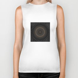 Black Marble and Bronze Modern Mandala Biker Tank