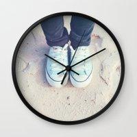 sneaker Wall Clocks featuring Converse Mint Sneaker by imstephanielee