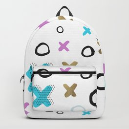 Geometrical abstract pink teal gold crosses circles pattern Backpack