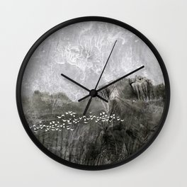 A cloud of white birds Wall Clock