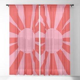 Pink Red Summer Sun Sheer Curtain