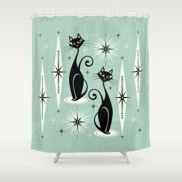 Mid Century Meow Retro Atomic Cats Mint Shower Curtain