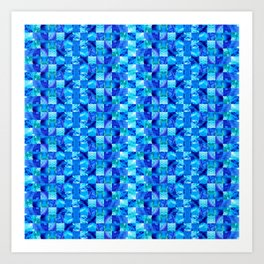 Blue Color Blocks By Sharon Cummings Art Print