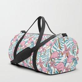 Boho Flamingo #illustration #pattern #tropical Duffle Bag