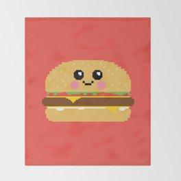 Happy Pixel Hamburger Throw Blanket