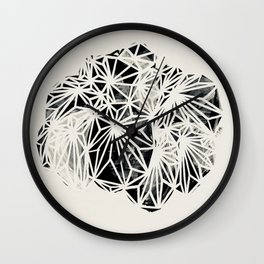 Pilea Black and White Plant Print Wall Clock