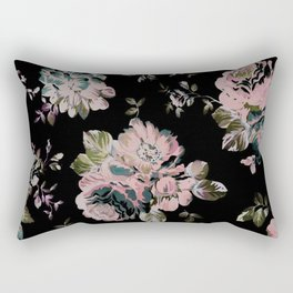 Dark Floral Pink Rectangular Pillow