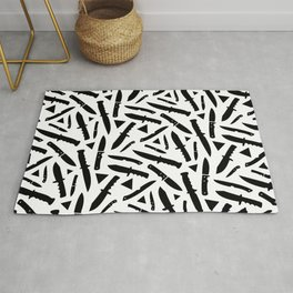 Survival Knives Pattern - Black and White Rug