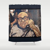 danny haas Shower Curtains featuring Danny Devito Reduction Print by Drewnelz