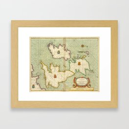 Vintage Map of The British Isles (1707) Framed Art Print