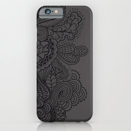 Mehndi Paisley Black and Grey iPhone Case
