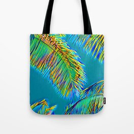 Palm Fronds in Turquoise Aloha Tote Bag