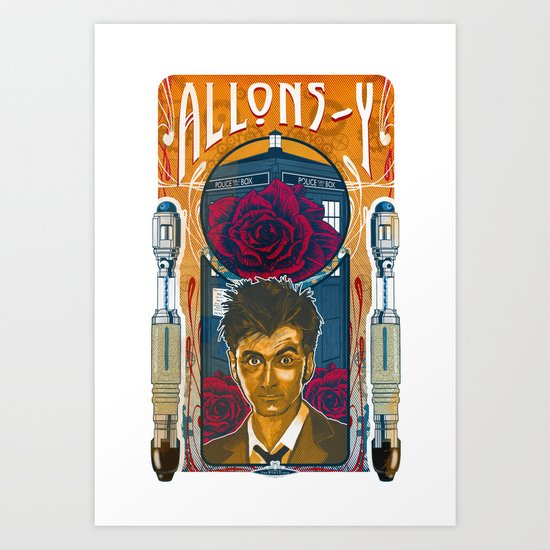 Doctor Who, David Tennant Allons-Y 10th Doctor Art Print
