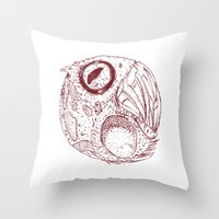 ying yang Throw Pillows featuring ying yang by Tapioles II