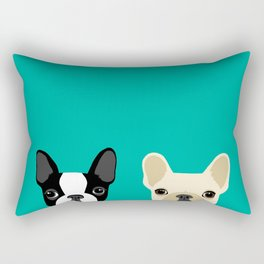 Boston Terrier & French Bulldog 2 Rectangular Pillow