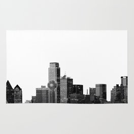 Dallas Texas Skyline in Black and White Rug