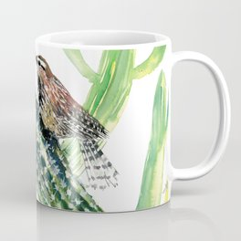 Arizona State Bird and Flower, Seguaro Cactus and Cactus Wren Coffee Mug