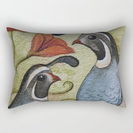 The quail and the poppy watercolor Rectangular Pillow