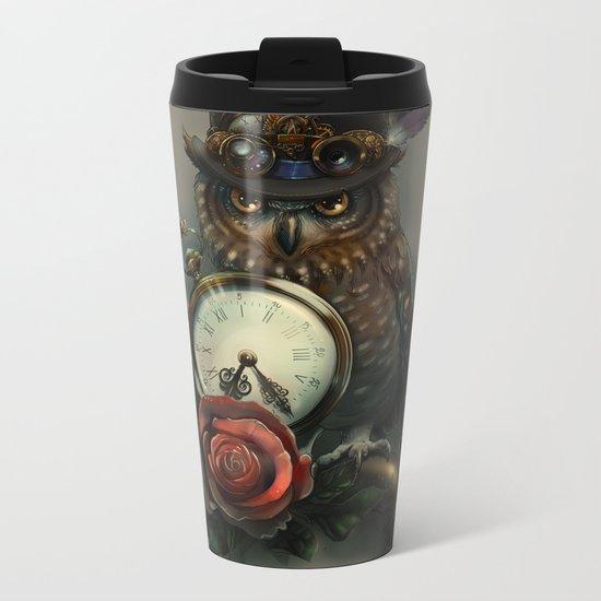 Sir Owl. Steampunk Metal Travel Mug