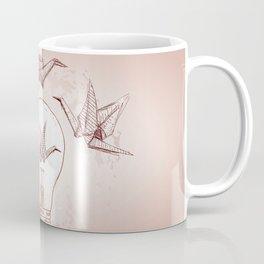 Origami paper cranes and light Coffee Mug