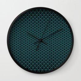 Diamond Pattern - Cyan - Curved 01 (line) Wall Clock