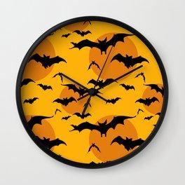Abstract orange yellow black halloween bats animal pattern Wall Clock