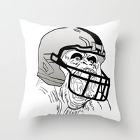 nfl Throw Pillows featuring American Football Gorilla by raeuberstochter