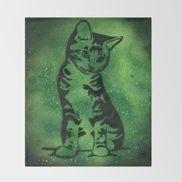 Green Kitten Throw Blanket
