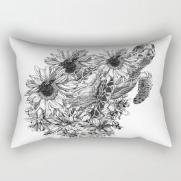 temporary design sea ​​turtle swimming in flowers Rectangular Pillow