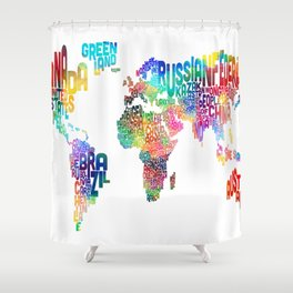 Typography Text Map of the World Shower Curtain