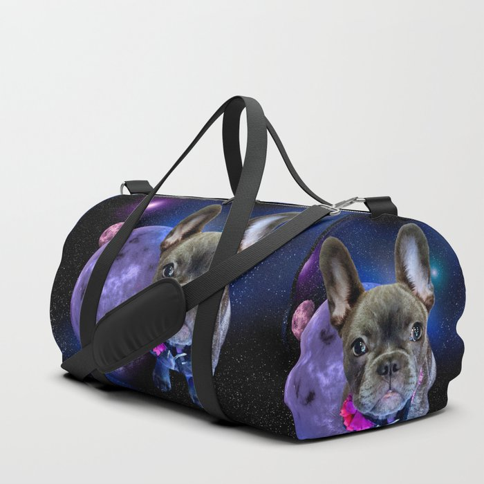 Dog French Bulldog and Galaxy Duffle Bag