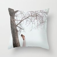 alone Throw Pillows featuring Alone by Jovana Rikalo