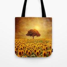 lone tree & sunflowers field (II) Tote Bag