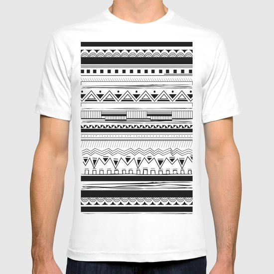 Tribal Pattern Black T-shirt