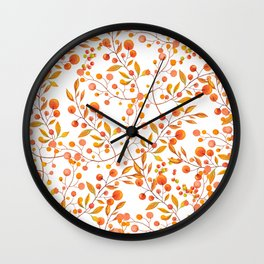 Hand painted orange gold fall berries floral Wall Clock